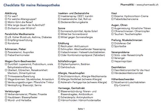 PharmaWiki - Checkliste für die Reiseapotheke